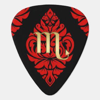 Zodiac Sign Scorpio Red Triba Monogram Guitar Pick