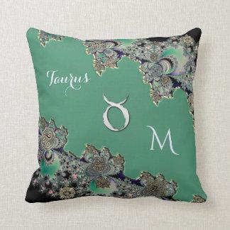 Zodiac Sign Taurus Celtic Fractal Throw Pillow