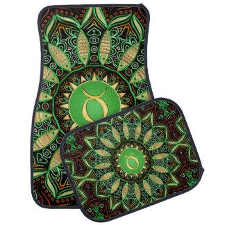 Zodiac Sign Taurus Mandala ~ Green Gold Floor Mat