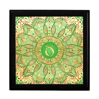 Zodiac Sign Taurus Mandala ~ Green Gold Gift Box