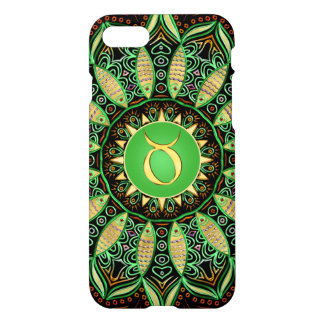 Zodiac Sign Taurus Mandala ~ Green Gold iPhone 8/7 Case