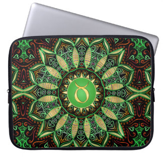 Zodiac Sign Taurus Mandala ~ Green Gold Laptop Sleeve