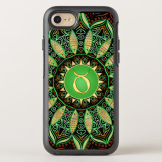Zodiac Sign Taurus Mandala ~ Green Gold OtterBox Symmetry iPhone 8/7 Case