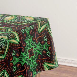 Zodiac Sign Taurus Mandala ~ Green Gold Tablecloth