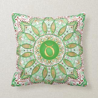 Zodiac Sign Taurus Mandala ~ Green Gold Throw Pillow