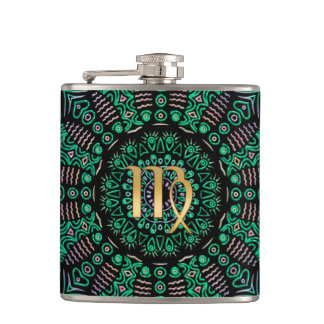 Zodiac Sign Virgo Green Mandala Hip Flask