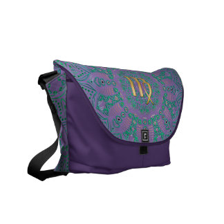 Zodiac Sign Virgo Green Mandala Messenger Bag