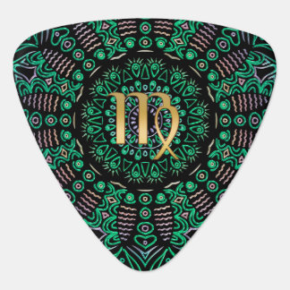 Zodiac Sign Virgo Green Mandala Plectrum