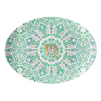 Zodiac Sign Virgo Green Mandala Porcelain Serving Platter