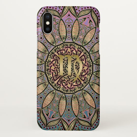 Zodiac Sign Virgo Mandala Earth Tone iPhone X Case