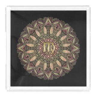 Zodiac Sign Virgo Mandala Earth Tones Acrylic Tray