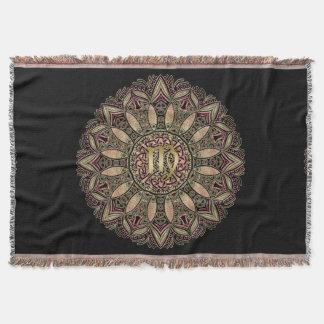 Zodiac Sign Virgo Mandala Earth Tones Throw Blanket