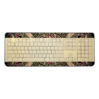 Zodiac Sign Virgo Mandala Earth Tones Wireless Keyboard