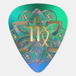 Zodiac Sign Virgo Metallic Mandala Guitar Pick