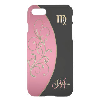 Zodiac Sign Virgo Pink and Black iPhone 7 Case