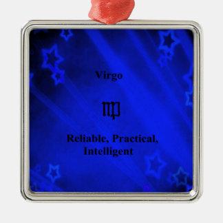 Zodiac Sign: Virgo Silver-Colored Square Decoration