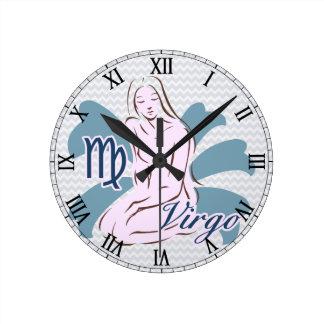 Zodiac Sign Virgo Symbol Wall Clocks