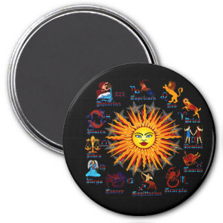 Zodiac-Signs-All-V-1 7.5 Cm Round Magnet