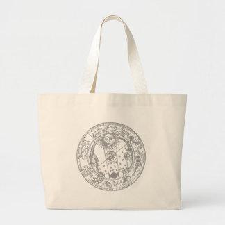Zodiac signs vintage large tote bag