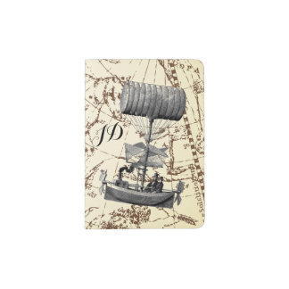 Zodiac Sky Steampunk Air Boat with Initials Passport Holder