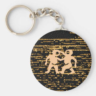 Zodiac Symbols on Gold Sparkle Night Sky Basic Round Button Key Ring