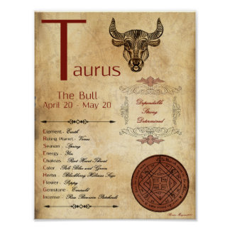 ZODIAC TAURUS  Birth Sign POSTER