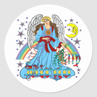 Zodiac-Virgo-V-1R Round Sticker