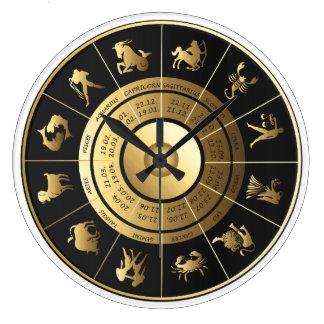 Zodiac Wall Clock Black & Gold