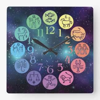 Zodiac Wheel Colorful Horoscope Signs Cosmic Square Wall Clock