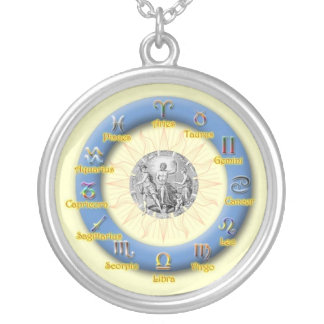 Zodiac Wheel Silver Plated Necklace