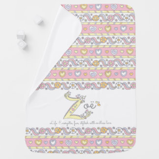Zoe name and meaning hearts baby blanket