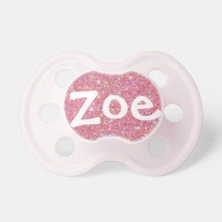 """""""Zoe"""" Personalized Name Sparkle Baby Pacifiers"""
