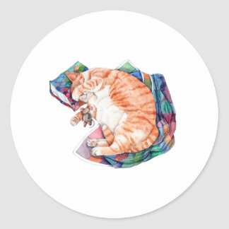 Zoe's Winter Nap Classic Round Sticker