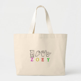 ZOEY FINGERSPELLED ASL SIGN NAME FEMALE TOTE BAGS