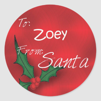Zoey Personalized Holly Gift Tags From Santa Round Stickers