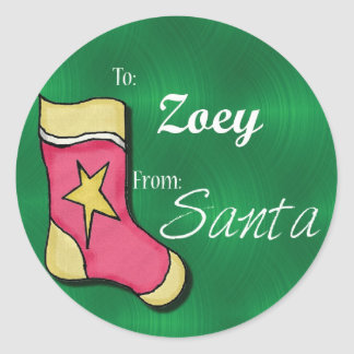Zoey Personalized Stocking label Round Stickers