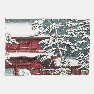 """""""Zojoji in Snow"""" by Kawase Hasui 川瀬 巴水 Tea Towel"""