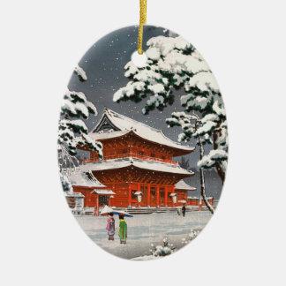 Zojoji Temple in Snow Tsuchiya Koitsu winter scene Ceramic Oval Decoration