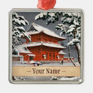 Zojoji Temple in Snow Tsuchiya Koitsu winter scene Silver-Colored Square Decoration