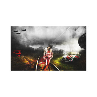 Zombie apocalypse artistic illustration gallery wrapped canvas