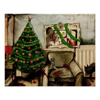 Zombie apocalypse Christmas horror poster