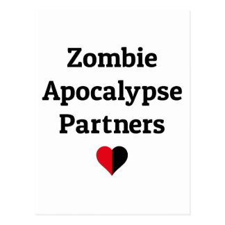 zombie apocalypse partners heart halves postcard