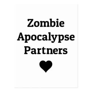 zombie apocalypse partners heart postcard