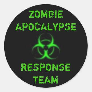 Zombie Apocalypse response team green Round Sticker