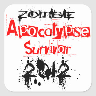Zombie Apocalypse Survivor 2012 Square Sticker