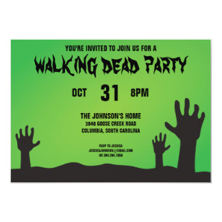 Zombie Arms Halloween Party Card