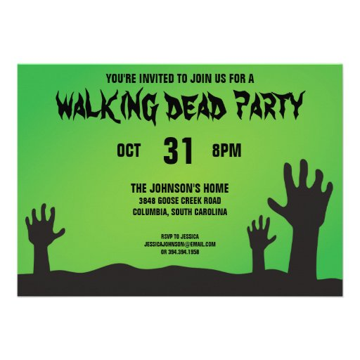Zombie Arms Halloween Party Personalized Invitations