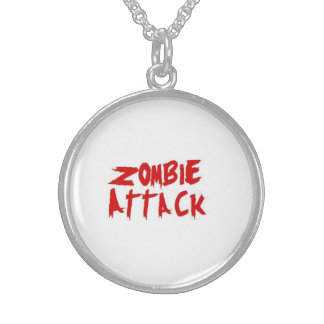 Zombie Attack Sterling Silver Necklace white