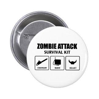 zombie attack survival kit 6 cm round badge