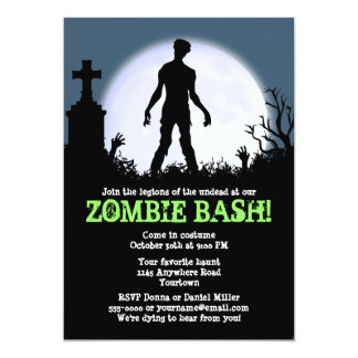 Zombie Bash Halloween Party Card